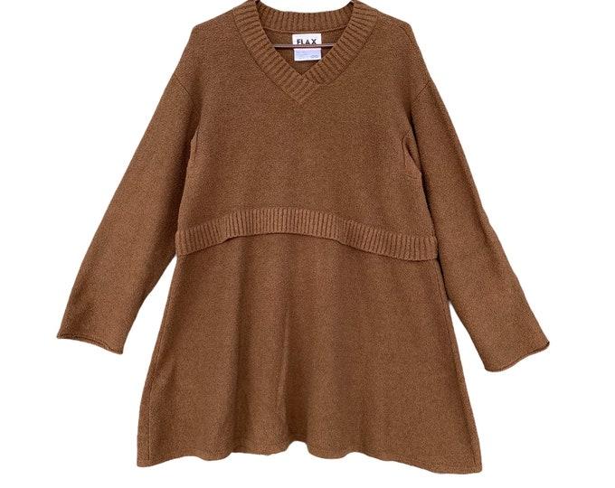Flax Fall 2006 Sweater Dress -M/L- Chocolate Brown Pima Boucle Cotton