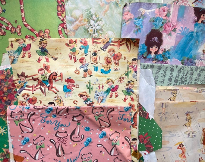 Lot of Assorted Vintage Wrapping Paper
