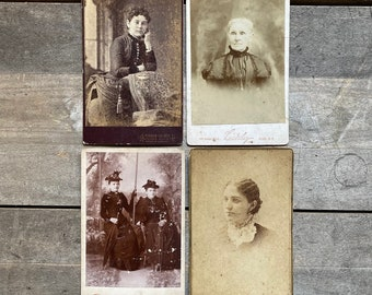 Collection of 4 Victorian Cabinet Cards Portraits of Women