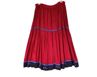 Vintage Boho Tiered Skirt Red Thinstripe Rayon