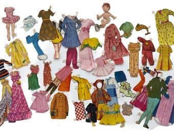 Lot of Vintage Mismatched Paper Doll Clothes