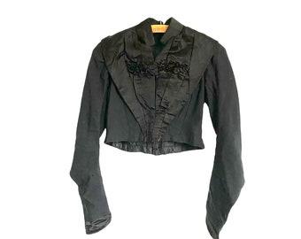 Victorian Black Sateen Shirtwaist