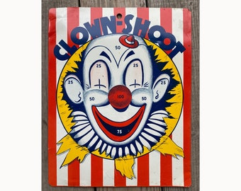 Vintage Metal Reversible Game Board Clown Shoot and Dart Baseball