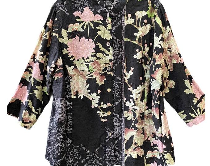 Citron Asian-Theme Shirt Jacket -1X- Bamboo/Nylon