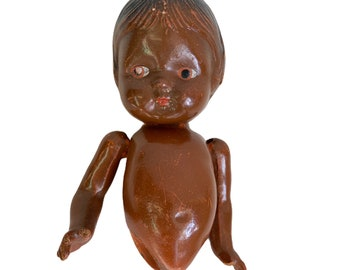 Vintage Brown Skin Composition Baby Doll Head Torso Arms