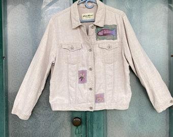 Funky Fishy Artsy Upcycled Linen Jean Jacket -L-