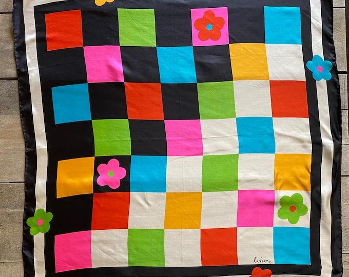 "Vintage Echo Colorblock Checkerboard Silk Scarf 27"" Square Rolled Edge Art Design"