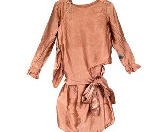 Vintage 1920s Silk Satin Flapper Dress with Rhinestones