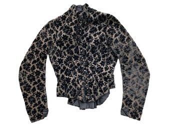 Victorian Black Floral Velvet Shirtwaist Jacket with Faceted Jet Buttons