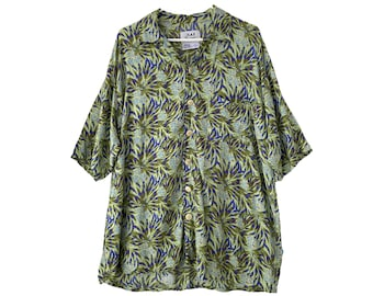 FLAX Engelhart Thinking Tropics 2001 Hawaii Shirt -M- Sage Fern Rayon