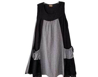 Tulip Black and Tiny Check Cotton Sleeveless Dress -M-