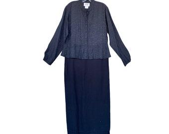FLAX Engelhart Fall 2001 Step Up Dress -L- Black Lines Rayon & Regal Reversigle Rayon/Linen