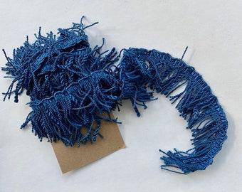 """Vintage Teal Blue Fringe Trim 84"""""""