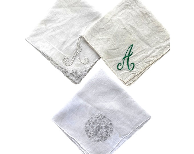 Trio of Vintage Handkerchiefs with Letter A Monogram