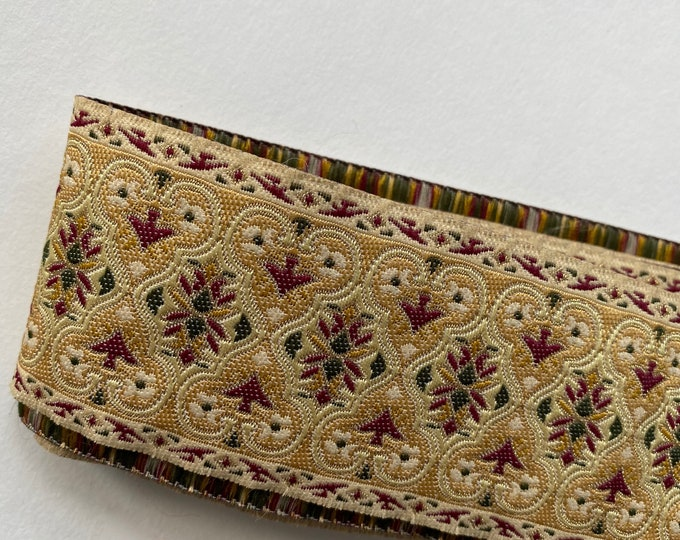 "Vintage Woven Ribbon Trim 72"" x 2"" Gold Maroon Green"