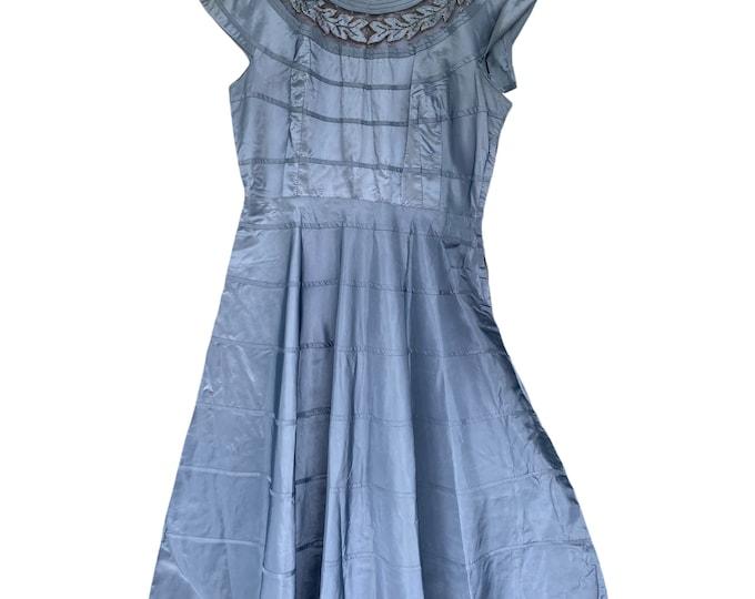 Vintage Joe Richman Blue Gray Taffeta Dress