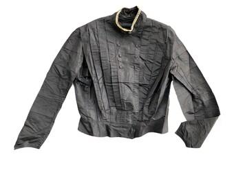 Victorian Black Shirtwaist Blouse with White Neckline Trim