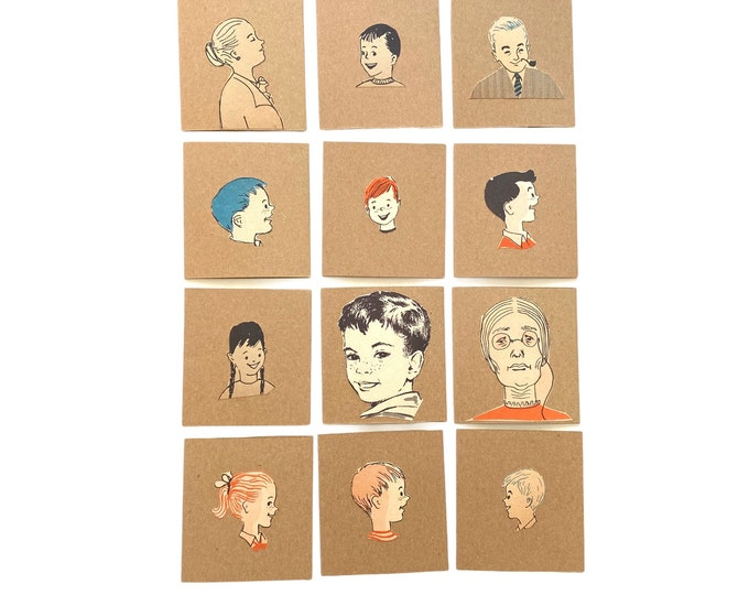 12  Vintage Illustration Floating Head Gift Cards with Envelopes