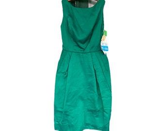 Vintage Emerald Green Satin Parklane Cocktail Dress Size 13 NWT