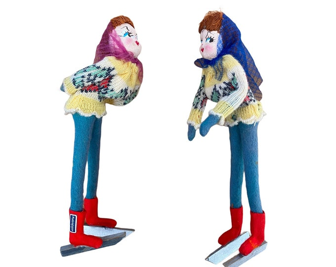 Pair of Cheeky Vintage Ice Skater Dolls Made in Japan
