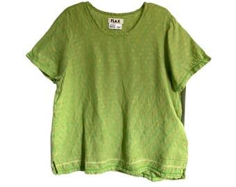 FLAX Engelhart Soleil 2005 Tee -S- Bright Green Linen