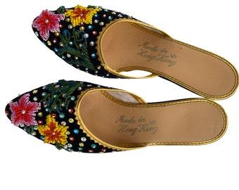 Vintage Beaded Slippers Slides