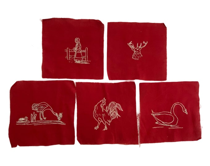 5 Vintage Turkey Red Squares with Farm Theme Embroidery