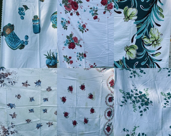 Lot of 6 Vintage 1940s Floral Tablecloths - Cutters with Flaws