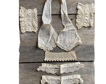 Vintage Dress Remnants Cuffs Trim Collar Lace