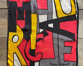 """Vintage Michael Murray Scarf 21"""" Square Rolled Edge Art Design"""