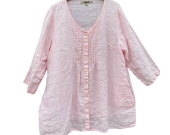 Flax 3/4 Sleeve Linen Pintuck Tunic Blouse -L-