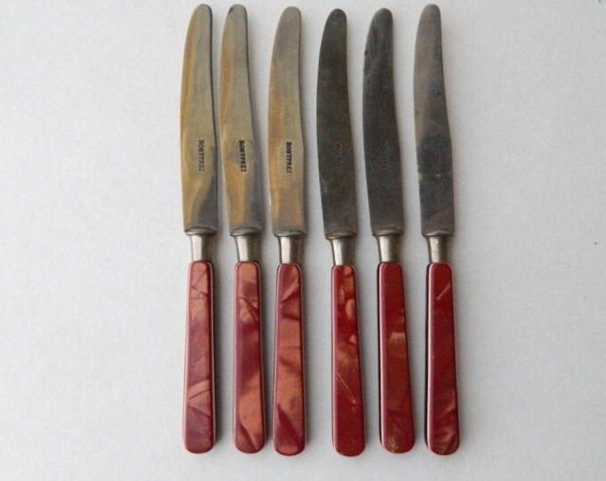 Set of 6 Rostfrei Stainless Steel Fruit Knives Red Marbled Bakelite Handles