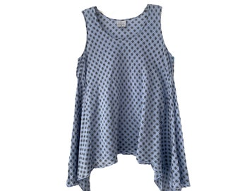 CMC Color Me Cotton Blue and Gray A-Line Sleeveless Tunic -S-
