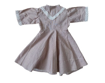 "Vintage Cotton Stripe Doll Dress with Circle Skirt 14"""
