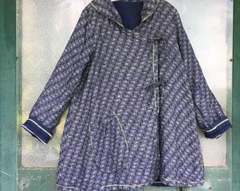 FLAX Engelhart Soleil 2005 Reversible Coat -P/XS- Yarn-Dyed Navy Blue Drops Linen