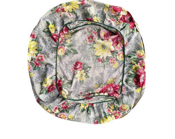 Vintage Floral Barkcloth Ottoman Slipcover