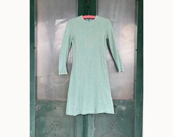 Vintage Slim Aqua Metallic Knit Dress