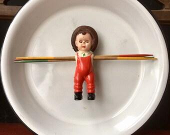 Farmer Boy Vintage Doll Toy Assemblage Magnet