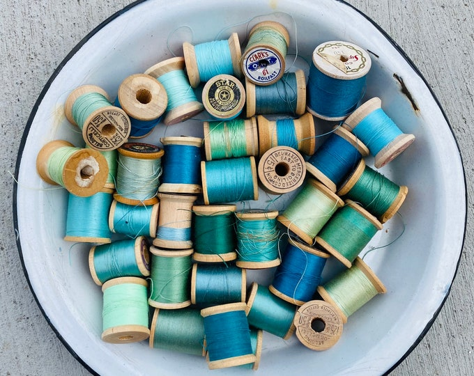 Collection of Vintage Wooden Spools with Turquoise Teal Aqua Green Thread