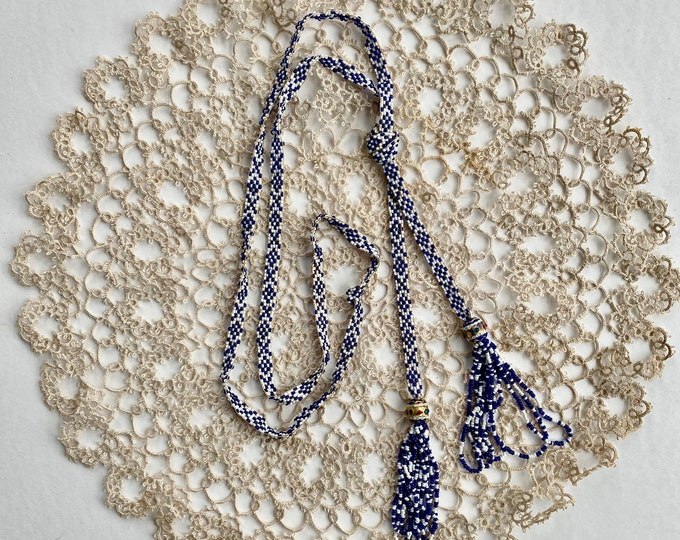 """Vintage 1920s Blue and White Beaded Sautoir Necklace 26"""""""
