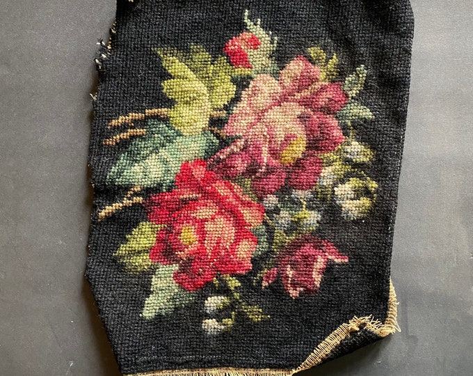 RESERVED Vintage Floral Needlepoint Panel