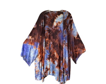 Blue Fish Kimono Jacket -O/S- Blue and Brown Tie Dye