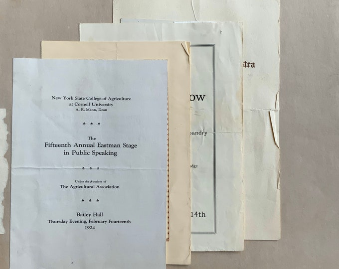 Cornell University 1920s Ephemera Scrapbook Programs Passes