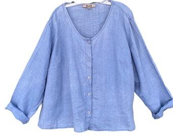 FLAX Designs Pintuck Blouse -1G/1X- Sky Blue Medium Weight Linen