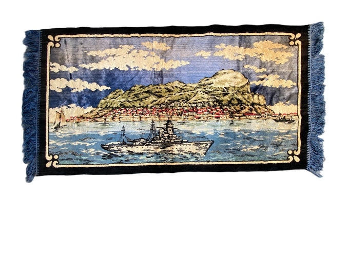 Oceanliner and Seaside Village Velvet Tapestry