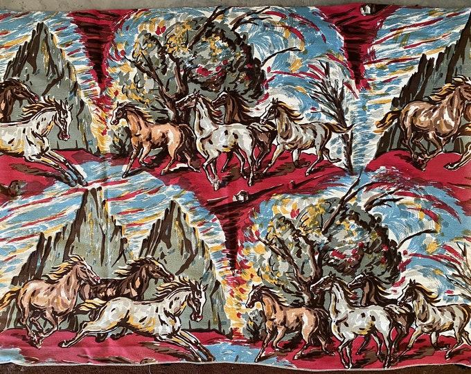 Vintage Wyoming Handprint Horse Barkcloth Curtain Panels