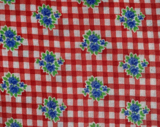 "Vintage Peter Pan Fabrics Calico on Gingham Plaid Cotton Fabric 4 yds x 44"""