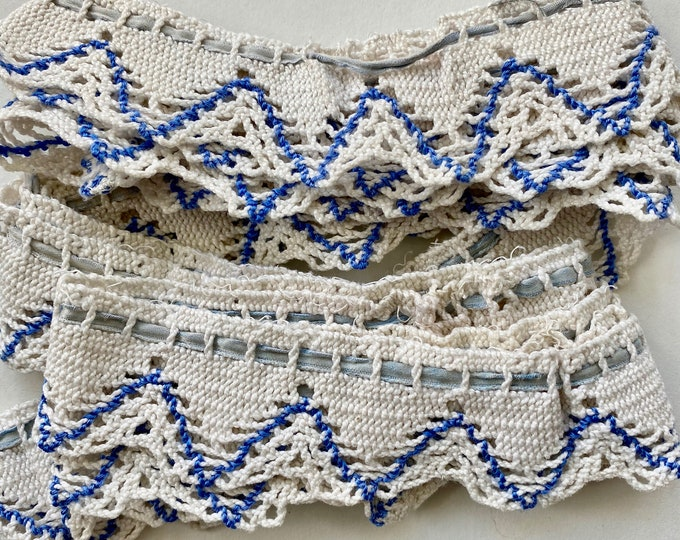 "Vintage Blue and White Petticoat Lace Trim 84"" x 1 1/4"" Circular"