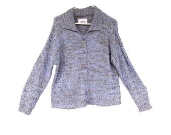 FLAX Engelhart Soleil 2001 Sweet Cardigan Sweater Blue Speckle Cotton/Poly/Rayon