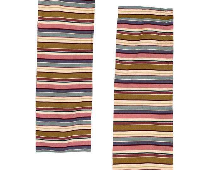 "Pair of 1980s Striped Bark Cloth Valance Panels 16"" x 104"""